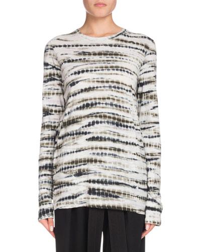 Crewneck Long-Sleeve Tie-Dye Cotton T-Shirt