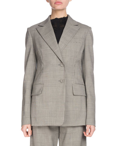 Notched-Collar Single-Breasted Two-Button Plaid Wool Suiting Blazer