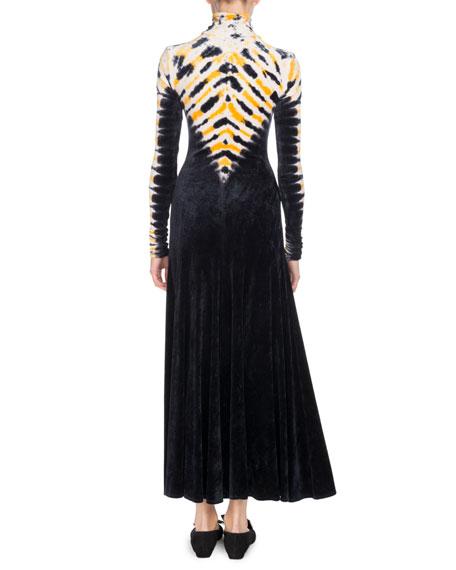 Turtleneck Long-Sleeve Degradé Velvet Long Dress