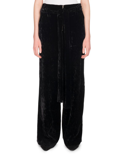 Slouchy Wide-Leg Velvet Trousers