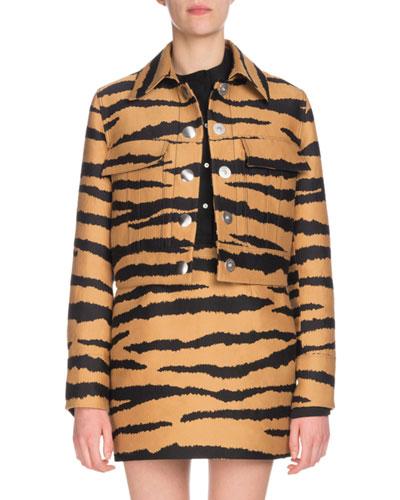 Tiger-Jacquard Snap-Front Cropped Jacket