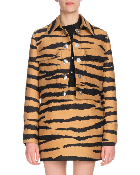 Tiger-Print Wool And Silk-Blend Jacquard Jacket, Bronze