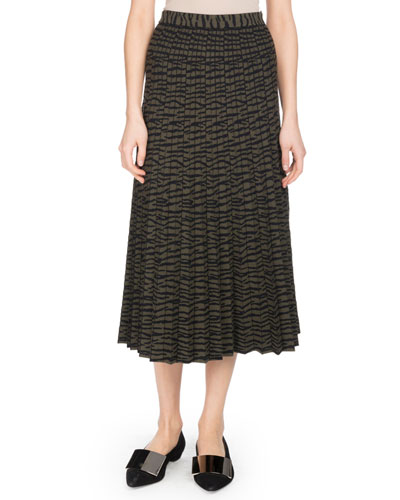Pleated A-Line Tiger-Jacquard Midi Skirt