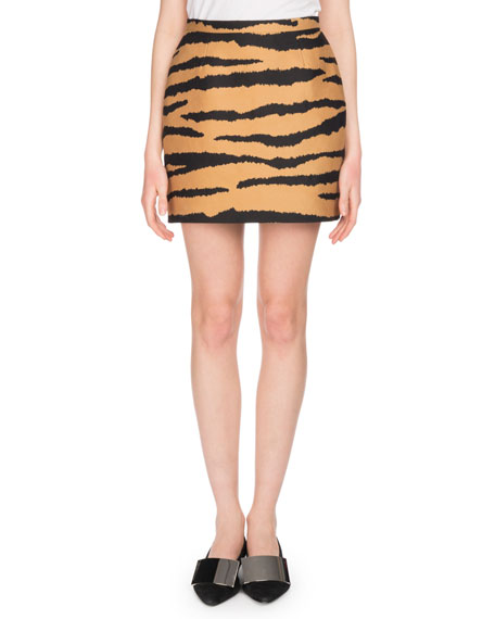 Tiger-Print Wool And Silk-Blend Jacquard Mini Skirt in Brown