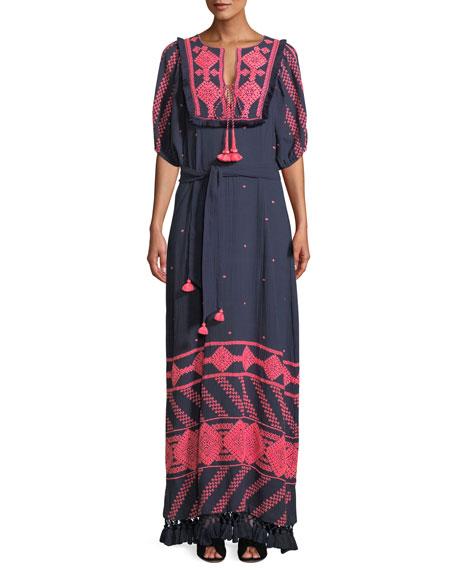 Mela Short-Sleeve Tie-Waist Embroidered Cotton Gauze Long Dress, Blue/Pink