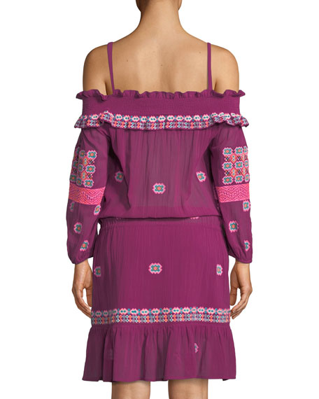 Sofia Cold-Shoulder Long-Sleeve Embroidered Cotton Voile Short Dress