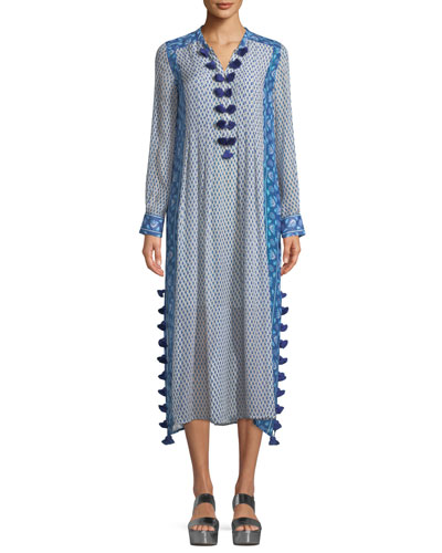 V-Neck Long-Sleeve Printed Silk Georgette Midi Kaftan w/ Tassel Trim