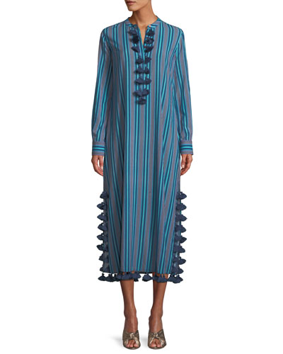 Paolina Striped Maxi Dress with Tassels
