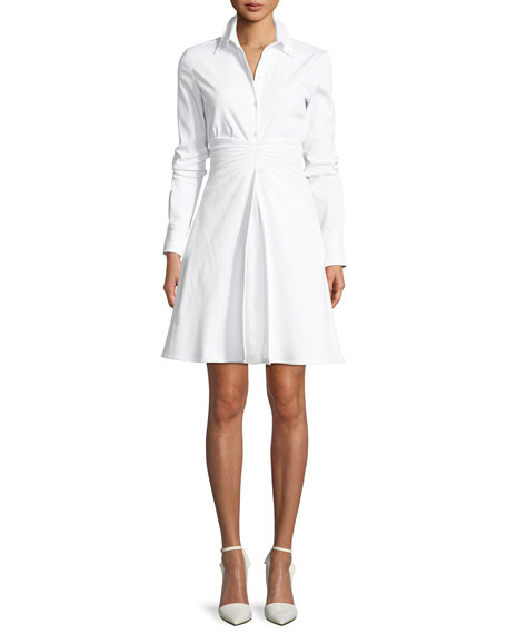 PLEATED-WAIST LONG-SLEEVE FIT-AND-FLARE COTTON PIQUÉ SHIRTDRESS