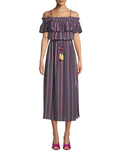 Mirella Off-Shoulder Silk Midi Dress