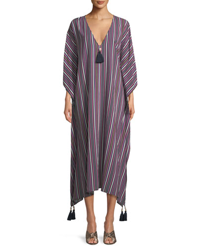 Eliza Striped Caftan Dress with Tassels