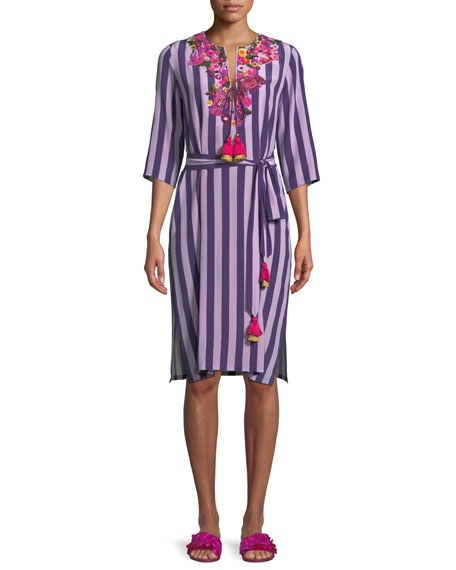 Figue Julia 3/4-Sleeve Striped Silk Dress w/ Floral-Embroidery