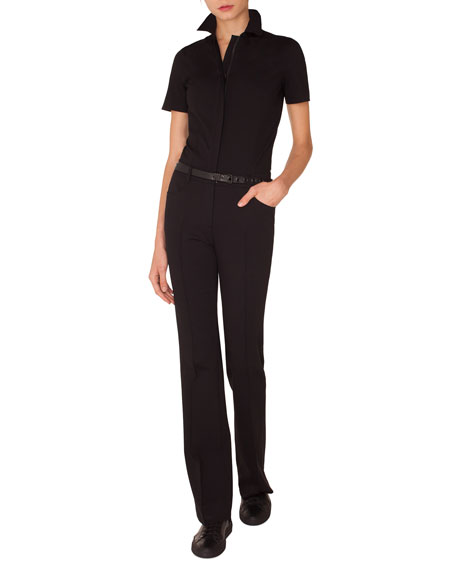 Short-Sleeve Straight-Leg Stretch-Cady Jumpsuit w/ Leather Belt