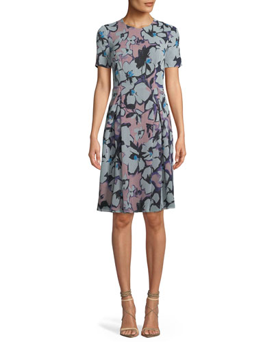 Short-Sleeve Ruched-Side Floral Print Dress