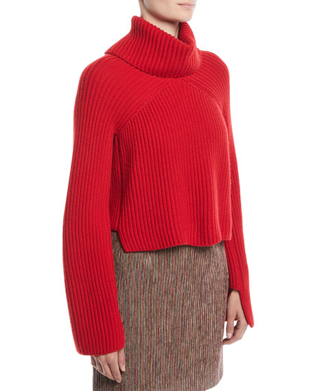 ccdc1256fd9690 Rosetta Getty Turtleneck Chunky Ribbed Knit Cropped Cashmere Sweater