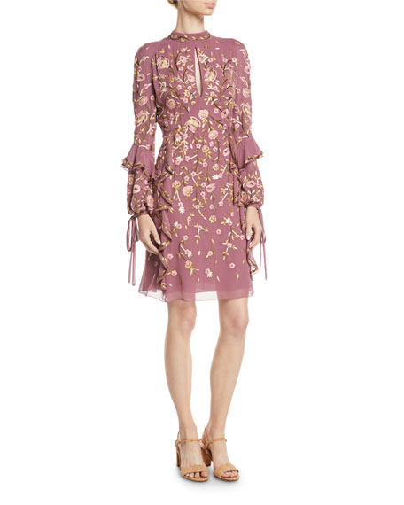 J. Mendel High-Neck Long-Sleeve Floral-Embroidered Silk A-Line