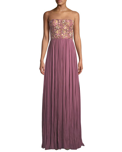 Strapless Floral-Embroidered Pleated Gown