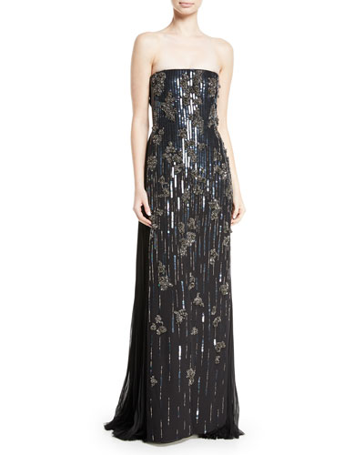 Embellished Strapless Silk Gown