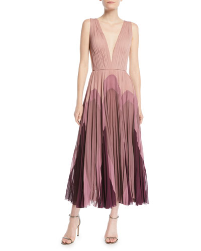 Sleeveless Plunging Pleated Silk Dress