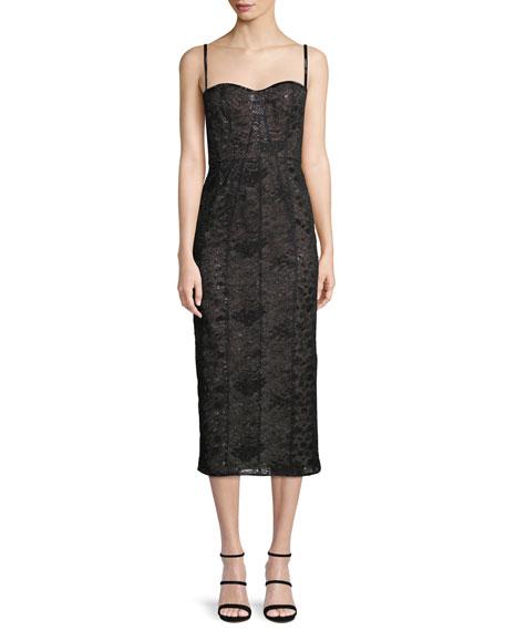 J MENDEL Sweetheart-Neck Bustier Lace Cocktail Dress in Black