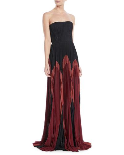 Strapless Plisse Silk Colorblock Gown