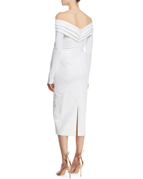 3552dfcc CUSHNIE Off-the-Shoulder Long-Sleeve Pencil Cocktail Dress w/ Curved Panels