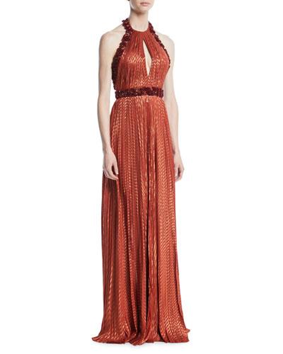 Metallic Beaded Halter Column Gown