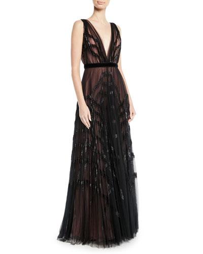 V-Neck Sleeveless Pleated Embellished Tulle Evening Gown