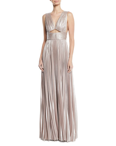 V-Neck Cutout-Waist Plisse Column Evening Gown