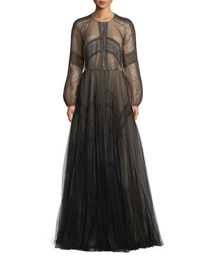 Long-Sleeve A-Line Mesh Evening Gown w/ Lace