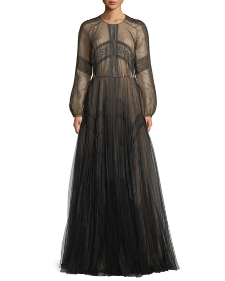J MENDEL LONG-SLEEVE A-LINE MESH EVENING GOWN W/ LACE