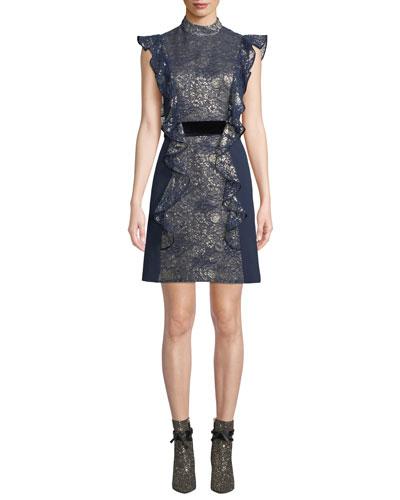 Flutter-Sleeve Metallic-Jacquard Open-Back Dress