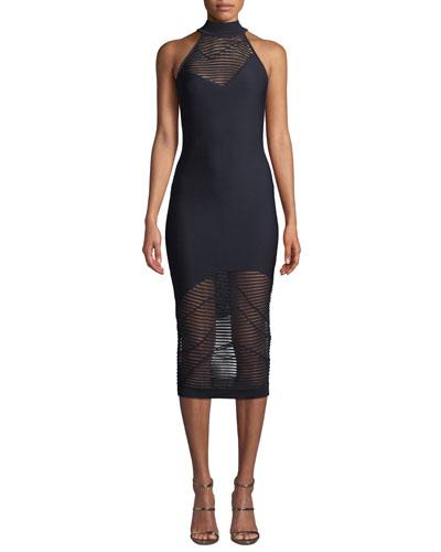 Nylon-Stripe Mock-Neck Sleeveless Body-Con Dress