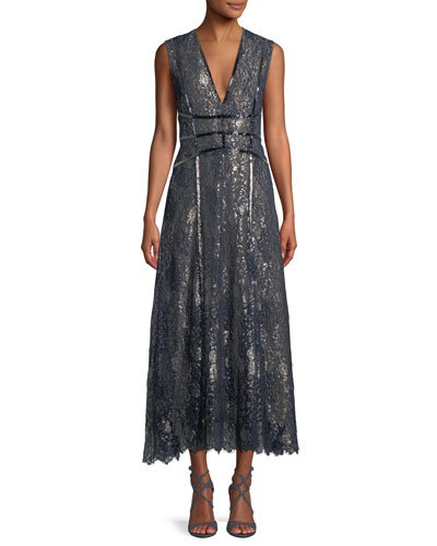 V-Neck Sleeveless Metallic Embroidered Lace Cocktail Dress