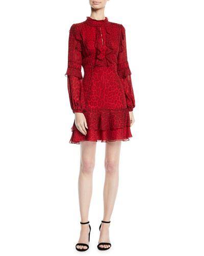 Long-Sleeve Ruffled Leopard-Print Silk Chiffon Cocktail Dress