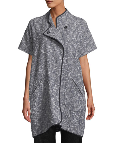 Edi Short-Sleeve Button-Front Melange Woven Jacket