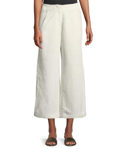 Tin Lightweight Linen-Blend Wide-Leg Pants