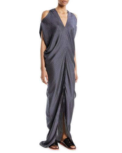 Kou Multi-Stripe Cold-Shoulder Dress