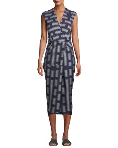 Kaia V-Neck Sleeveless Bicolor Jacquard Woven Wrap-Style Dress