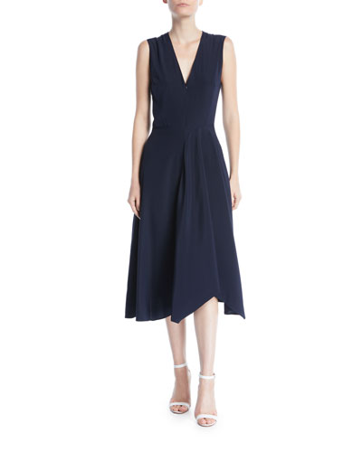 Wave V-Neck Zip-Front Sleeveless Fit-and-Flare Midi Dress