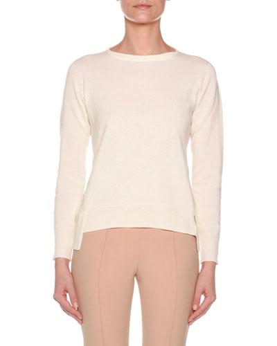 Long-Sleeve Crewneck Cashmere Sweater w/ Step Hem