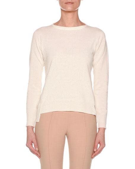 Agnona Long-Sleeve Crewneck Cashmere Sweater w/ Step Hem