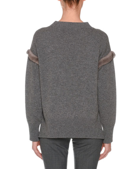Cashmere Sweater with Mink Fur Ribbon Details, Gray