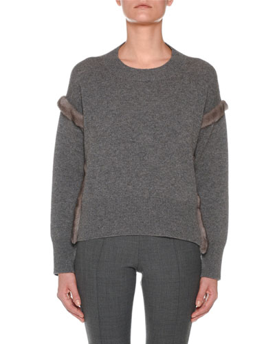 Cashmere Sweater with Mink Fur Ribbon Details  Gray
