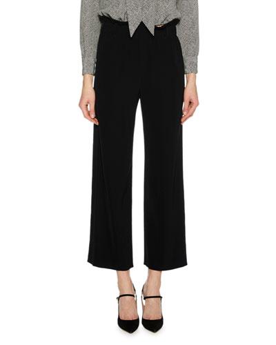 Paperbag-Waist Stretch-Cady Straight-Leg Pants w/ Tuxedo Stripe