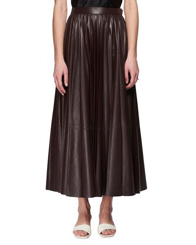 Vaileen A-Line Long Lambskin Leather Skirt