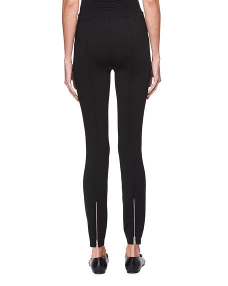 Helda Skinny Back-Hem Zip Stretch-Knit Pants