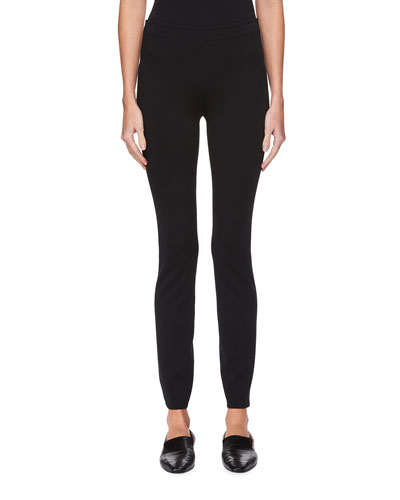 Helda Skinny-Leg Back-Hem Zip Stretch-Knit Pants