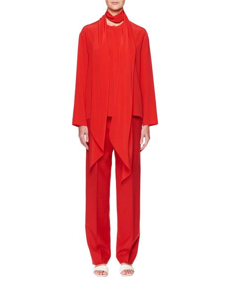 Katina Tie-Neck Long-Sleeve Silk Top
