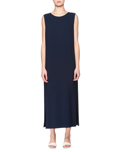 Lani Crewneck Sleeveless Maxi Dress with Side Slit